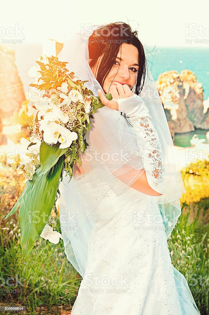 Newlywed at Scopello stock photo