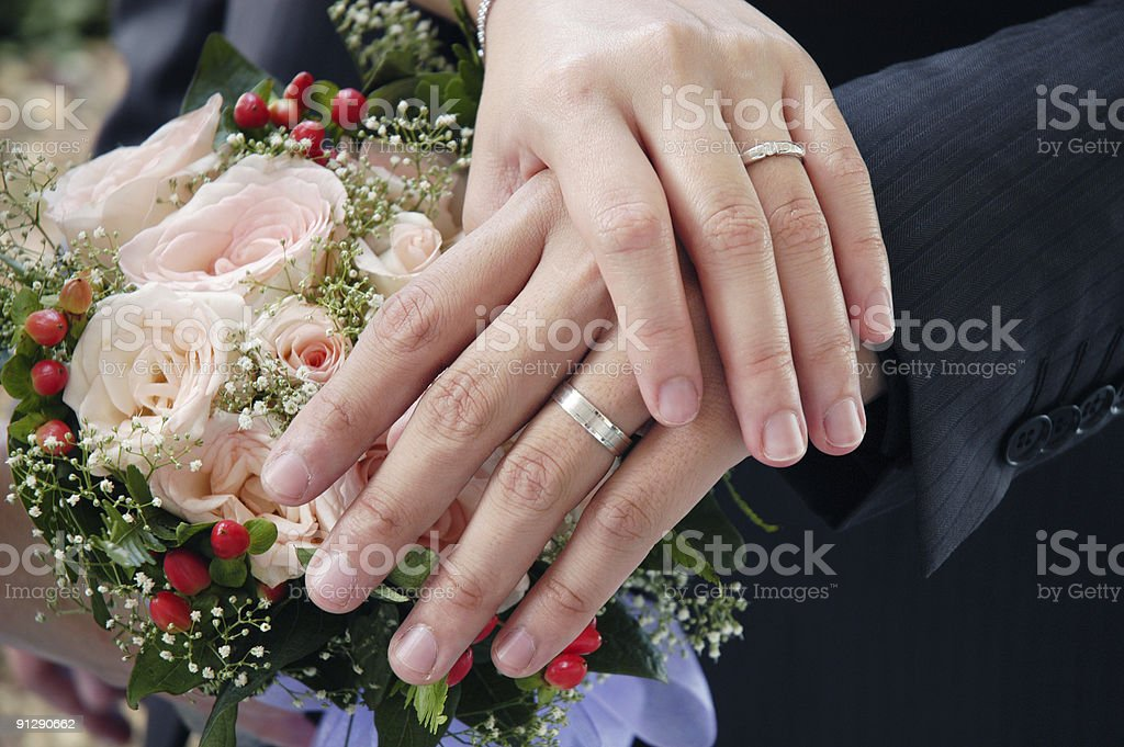 Newlywed Hands stock photo