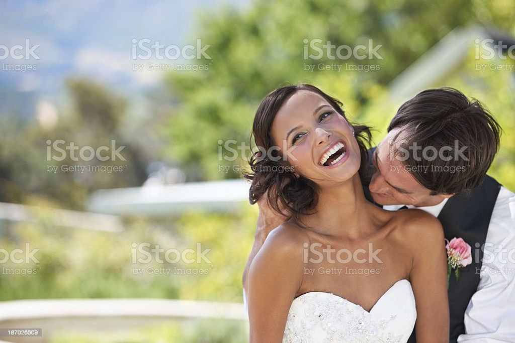 Newlywed naughtiness! royalty-free stock photo