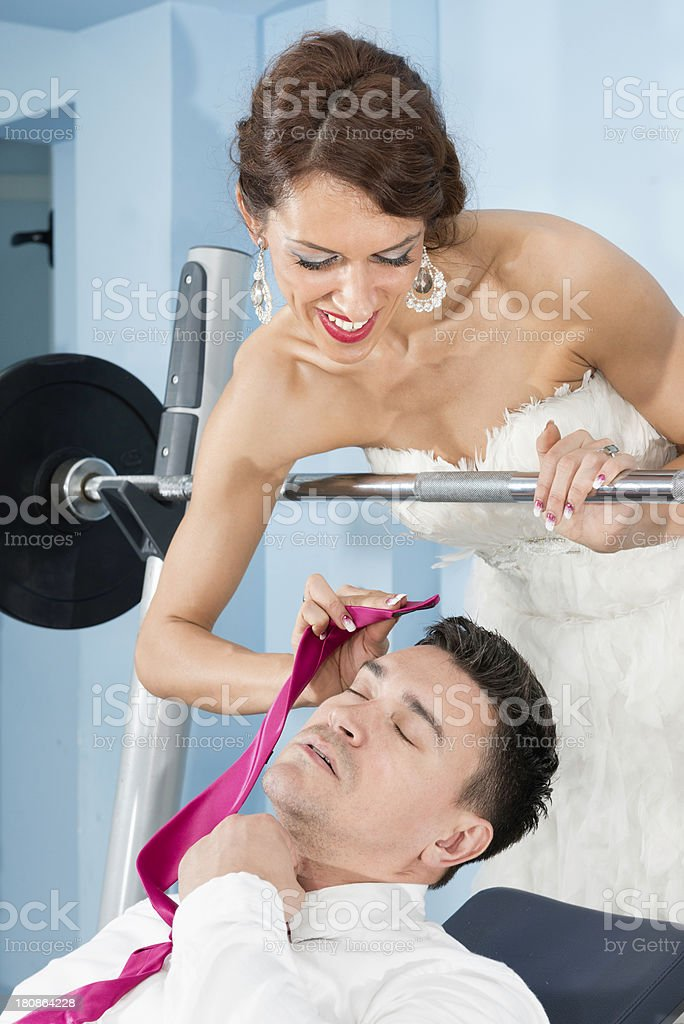 Newlywed sweethearts working hard royalty-free stock photo