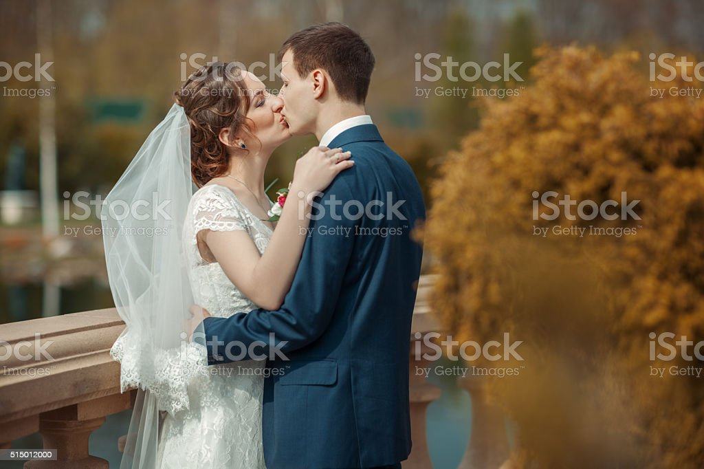 Newlyweds are kissing in a park stock photo