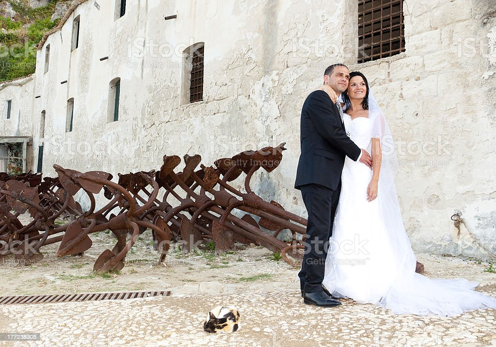 Newlyweds at Scopello stock photo