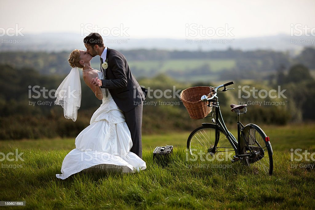 Newlyweds embracing and kissing each other. royalty-free stock photo