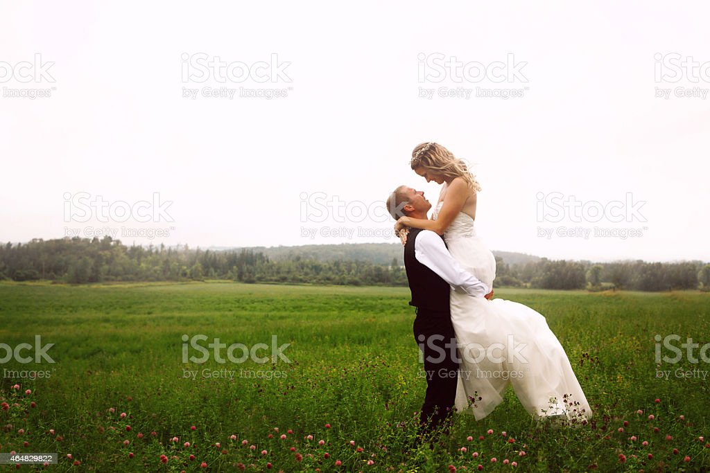 Newlyweds in a Meadow stock photo