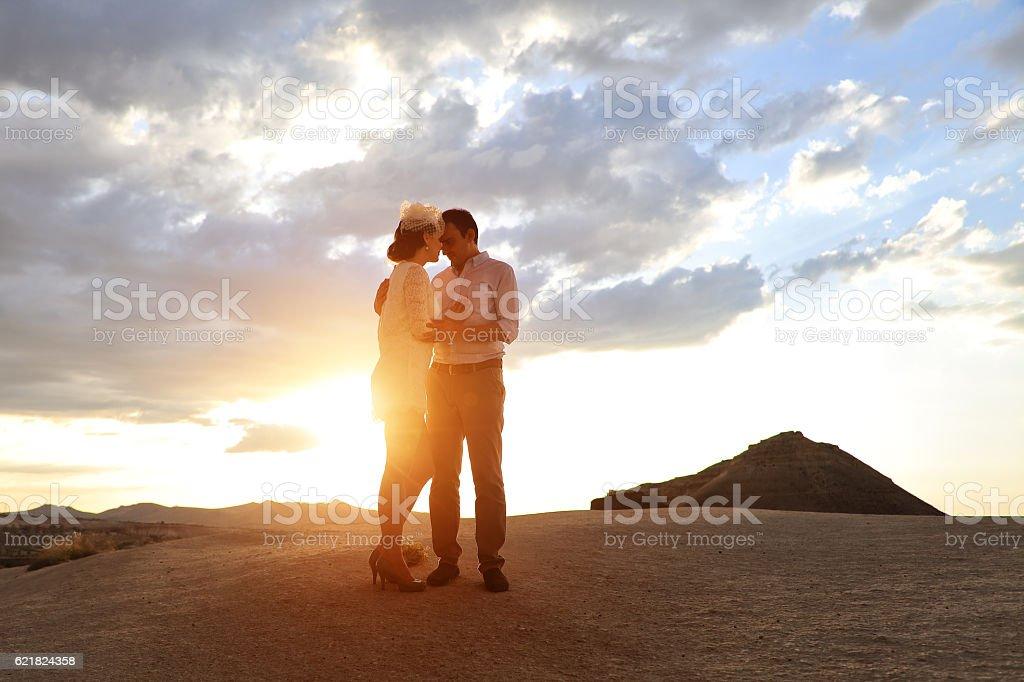 Newlyweds in Cappadocia, Turkey stock photo