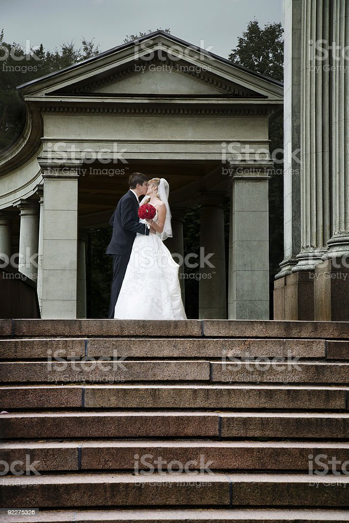 Newlyweds kissing royalty-free stock photo