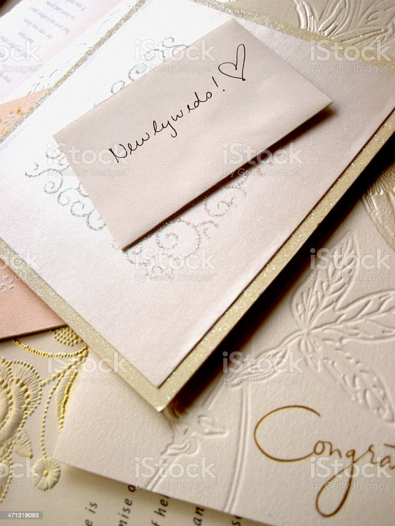 Newlyweds - Pile of Wedding Gift Envelopes stock photo