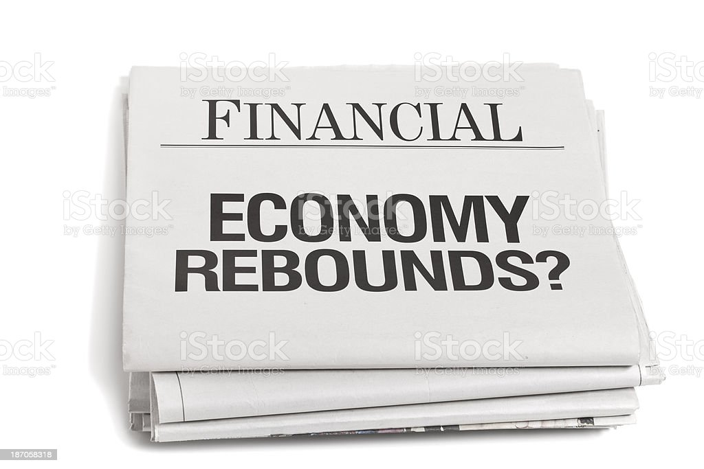 Newpaper Headlines Economay Rebounds royalty-free stock photo