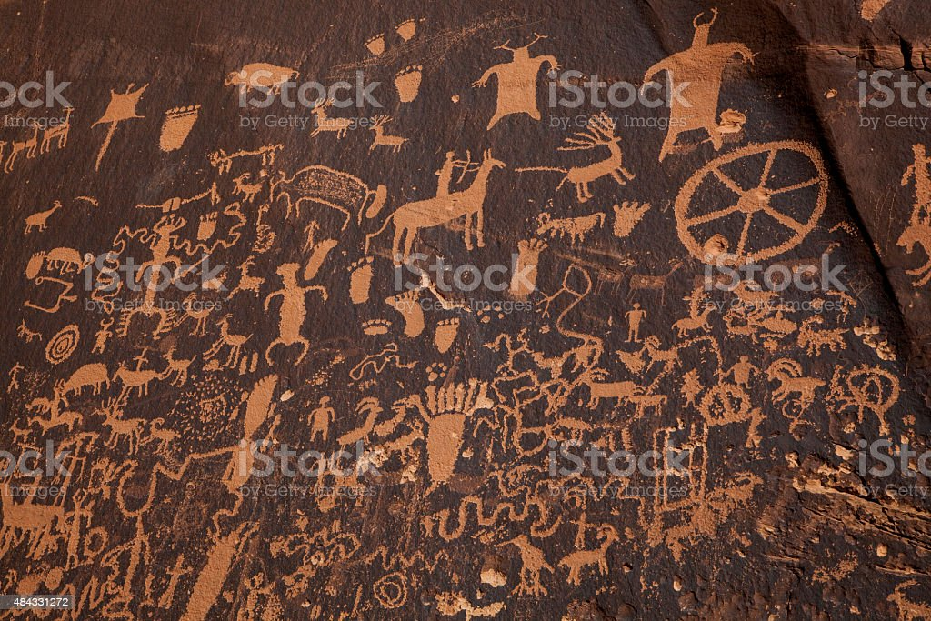 Newpaper Rock State Historic Monument, Petroglyph Panel in Utah stock photo