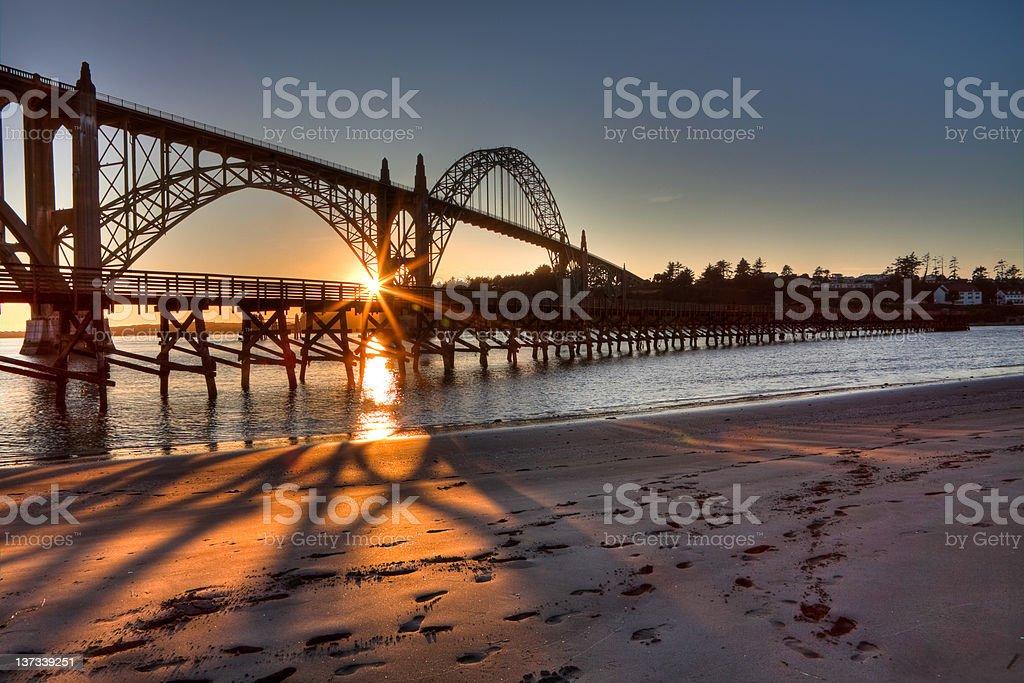 Newport Bay Bridge at Sunset stock photo