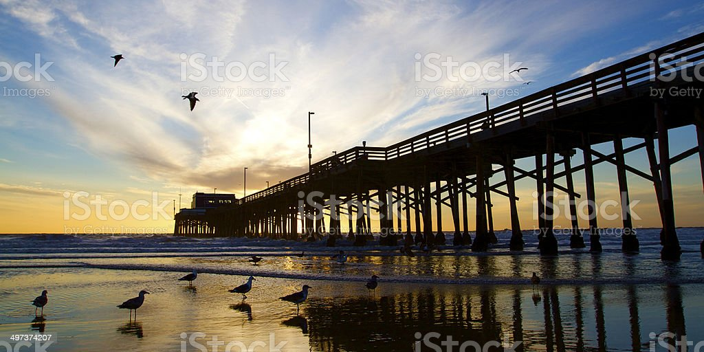 Newport Beach California Pier at Sunset in the Golden Silhouette stock photo