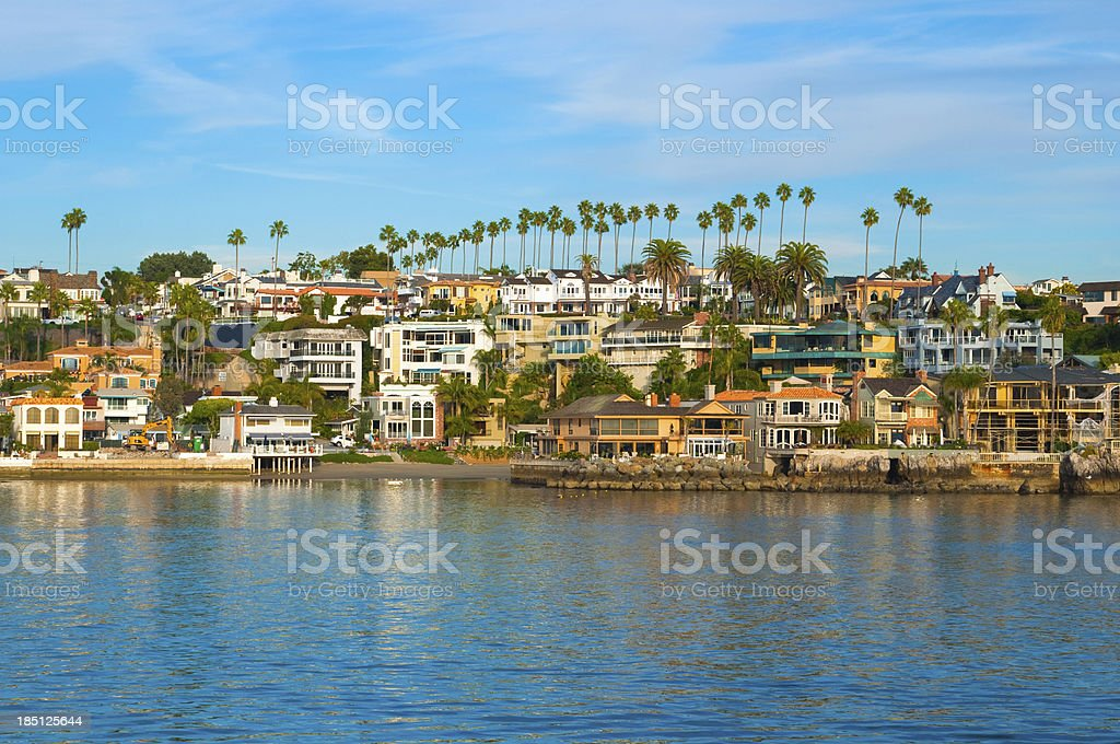 Newport Beach houses and bay stock photo