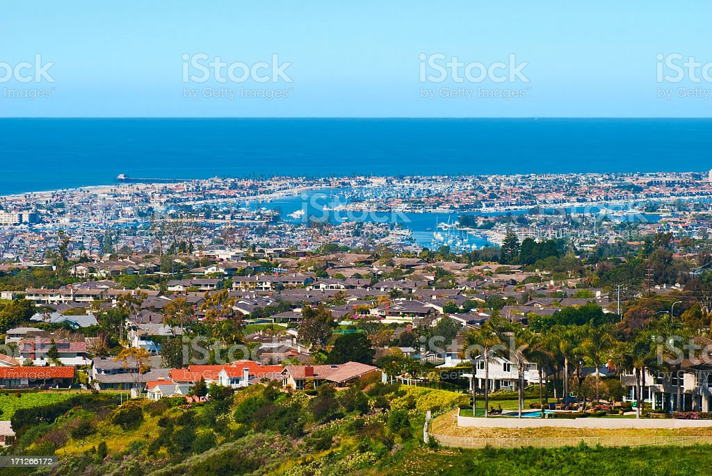 Newport Beach houses and Harbor aerial stock photo