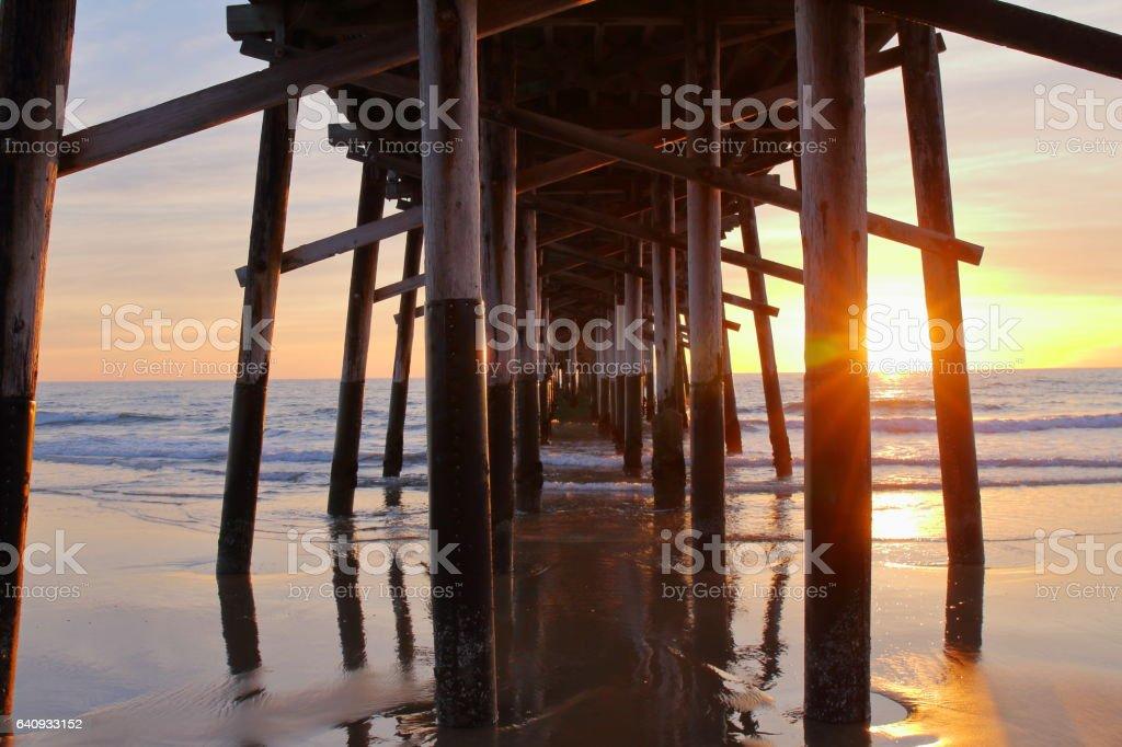 Newport Beach Pier at the sunset - USA stock photo