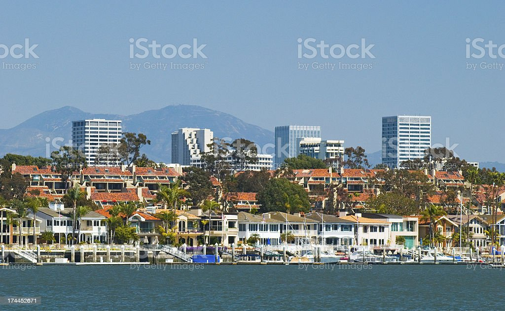 Newport Beach skyline and houses stock photo