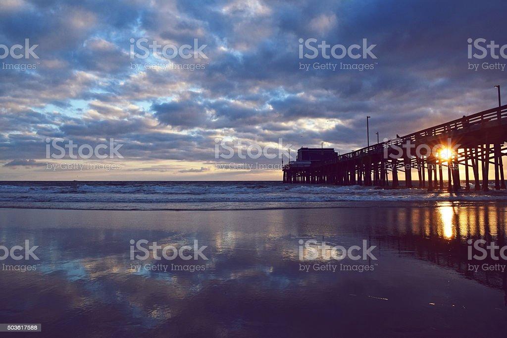 Newport Beach Summer Sunset & Pier stock photo