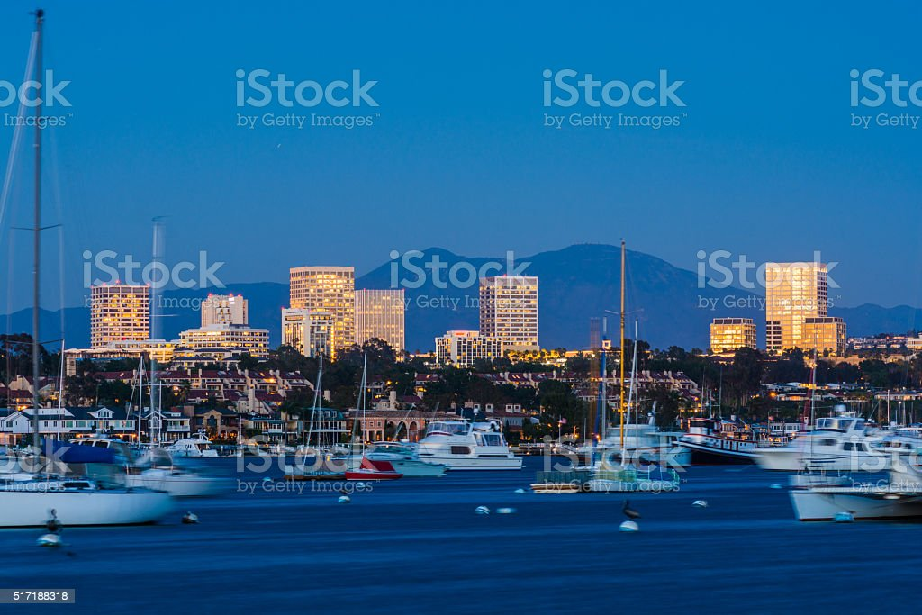 Newport Beach's Fashion Island skyline at dusk stock photo