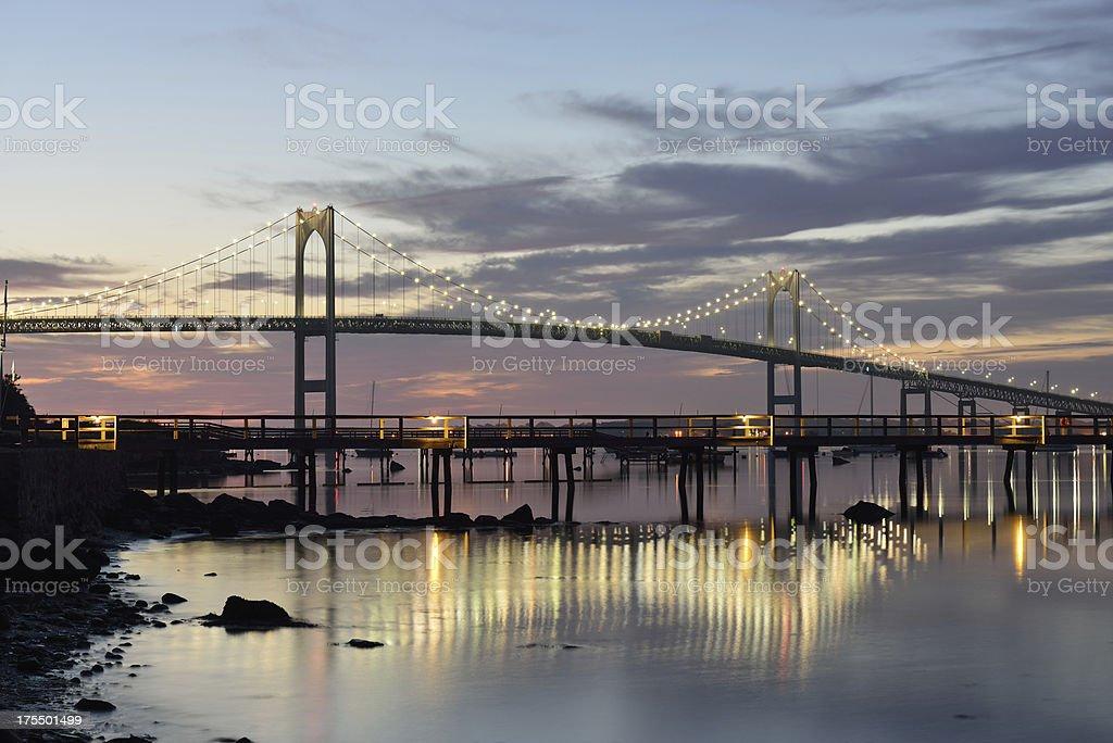 Newport Bridge at Dawn stock photo