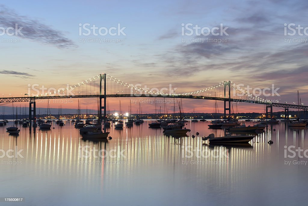 Newport Bridge at Sunrise stock photo