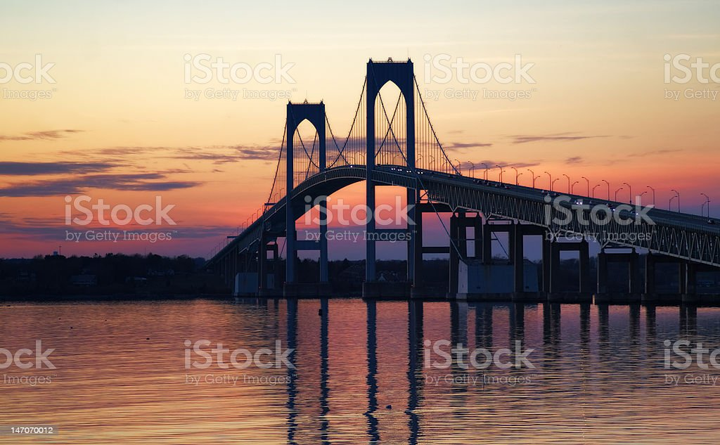 Newport Bridge Over Dusky Water royalty-free stock photo