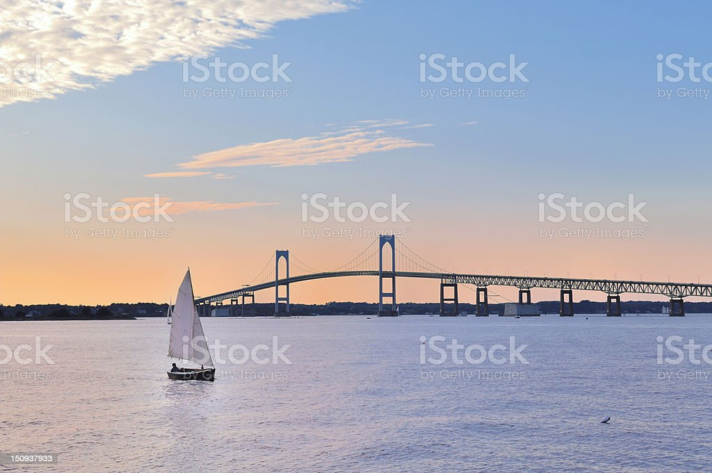 Newport Bridge Twilight Sunset with Sailboats Rhode Island USA stock photo