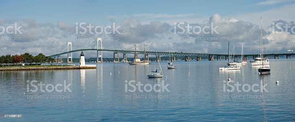 Newport Harbor Panorama stock photo