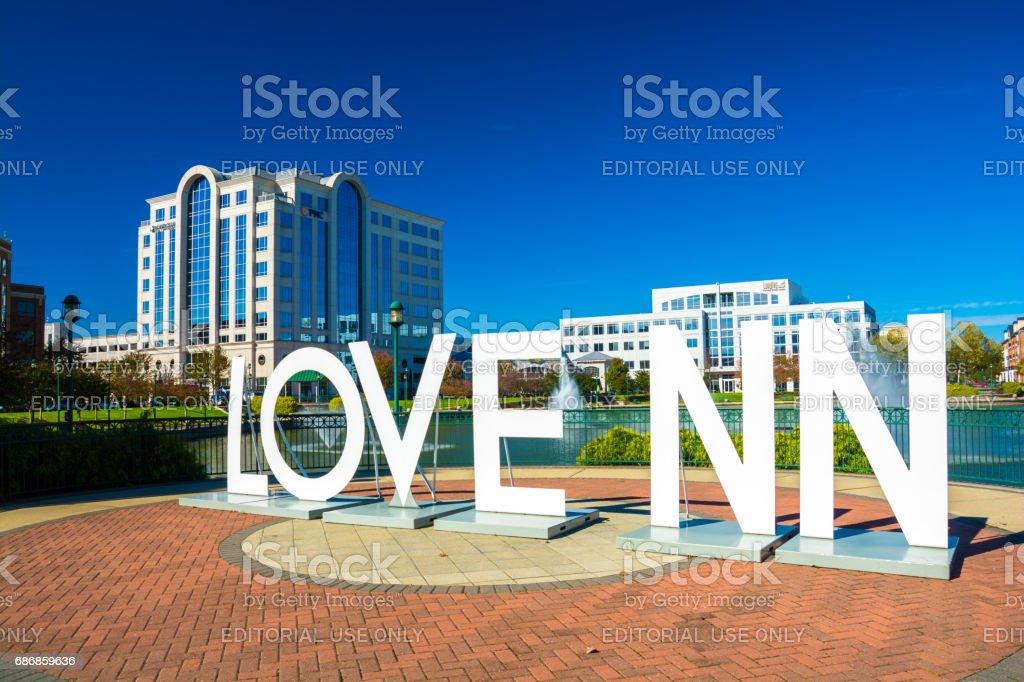Newport News 'Love NN' Sign and City Center stock photo