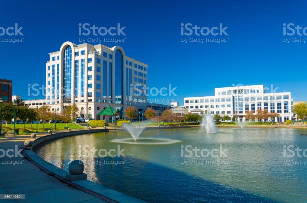 Newport News Skyline with Fountains stock photo
