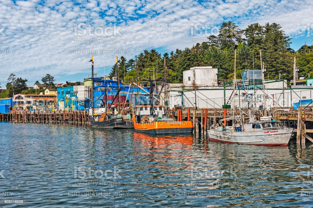 Newport Oregon Harbor Views with Boats and Buildings stock photo
