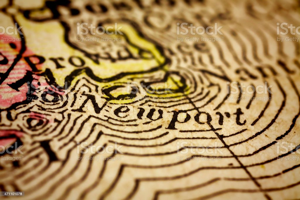 Newport, Rhode Island on an Antique map stock photo