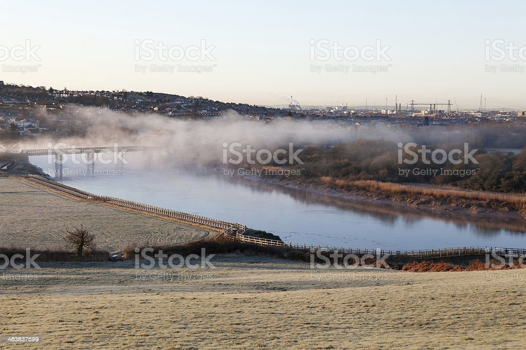 Newport Skyline on a Foggy Morning stock photo