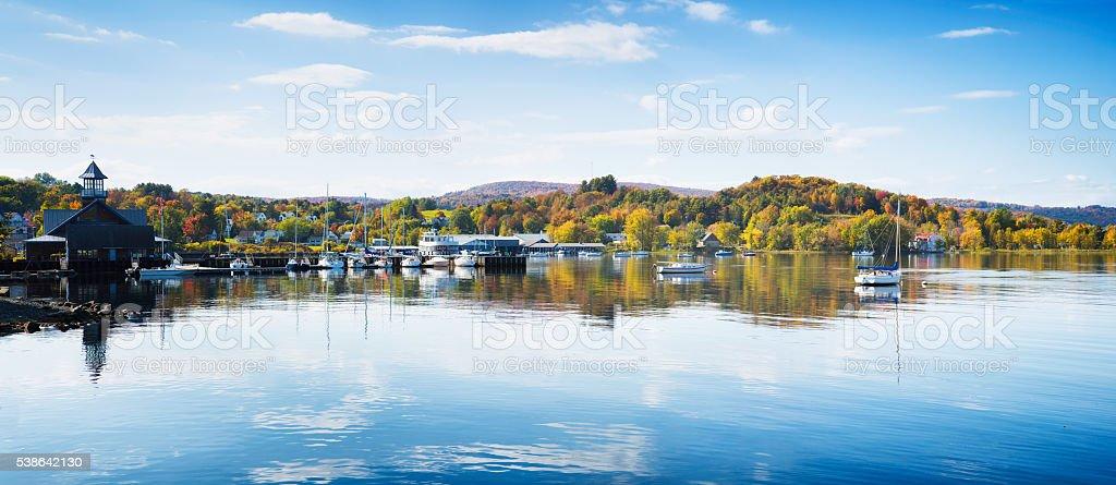 Newport Vermont marina panorama at Autumn stock photo