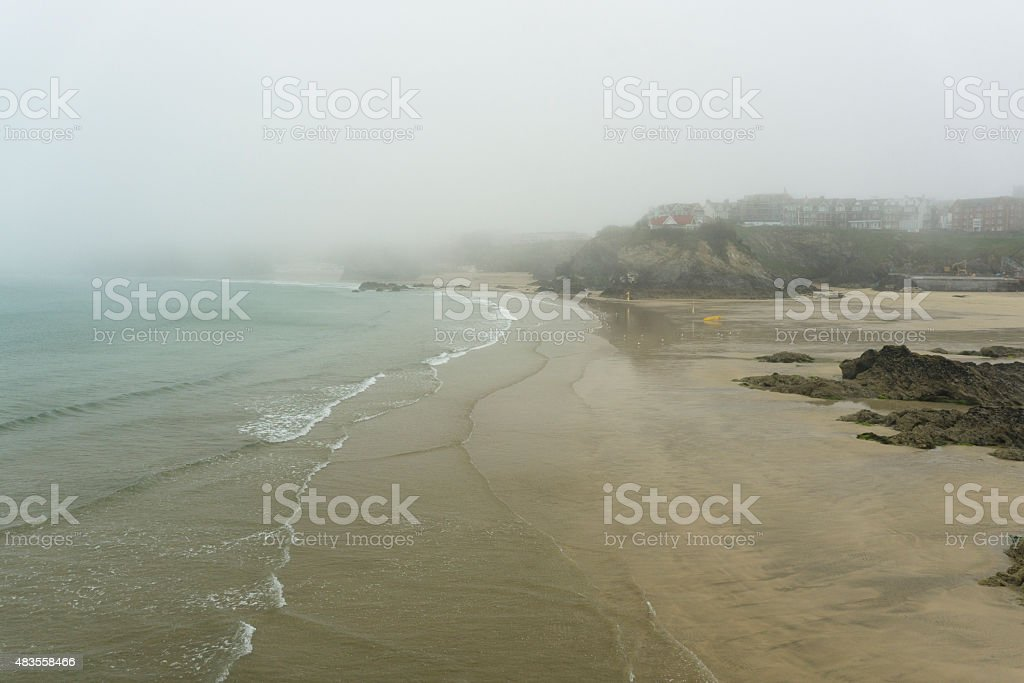 Newquay main town Beaches in Sea Mist during June stock photo