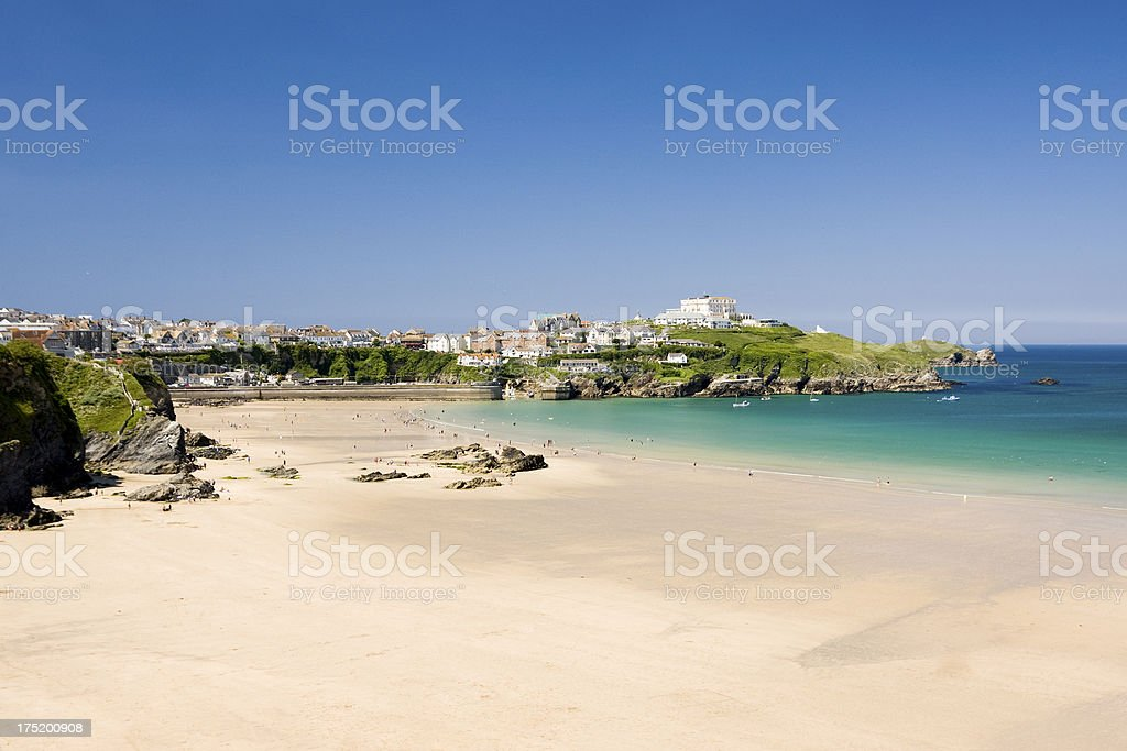 Newquay's Great Western Beach on Cornwall's north coast royalty-free stock photo
