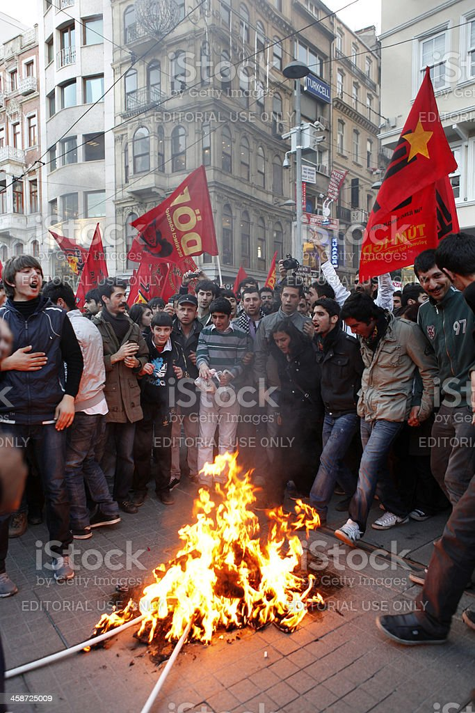 'Newroz demonstrations in Istanbul,Turkey' stock photo