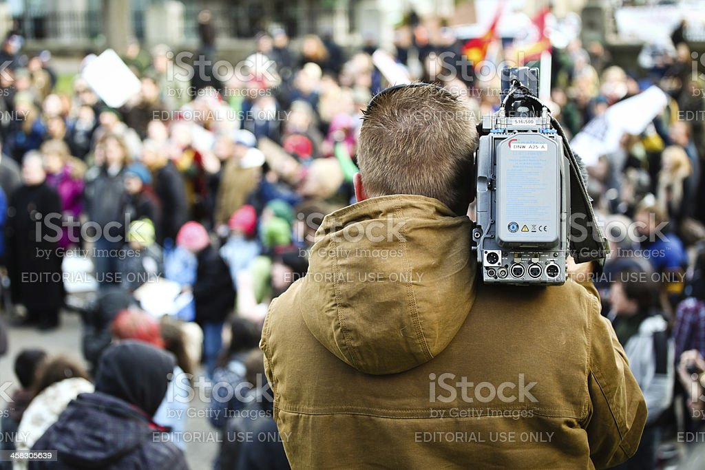 News Agency Camera Man Filming Protest stock photo