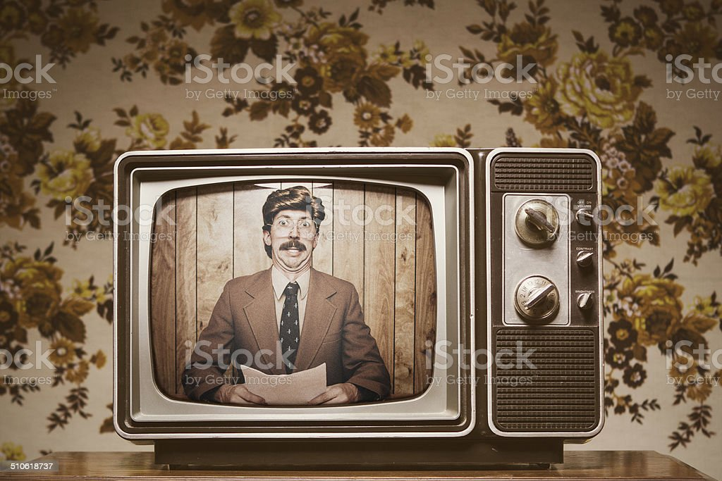News Anchor Man on Television stock photo