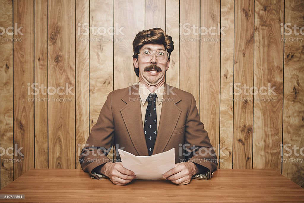 News Anchor Man Retro stock photo
