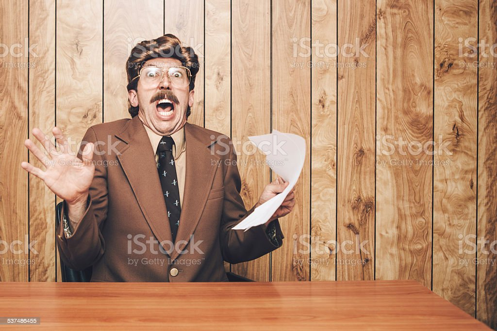 News Anchor Man Surprised stock photo