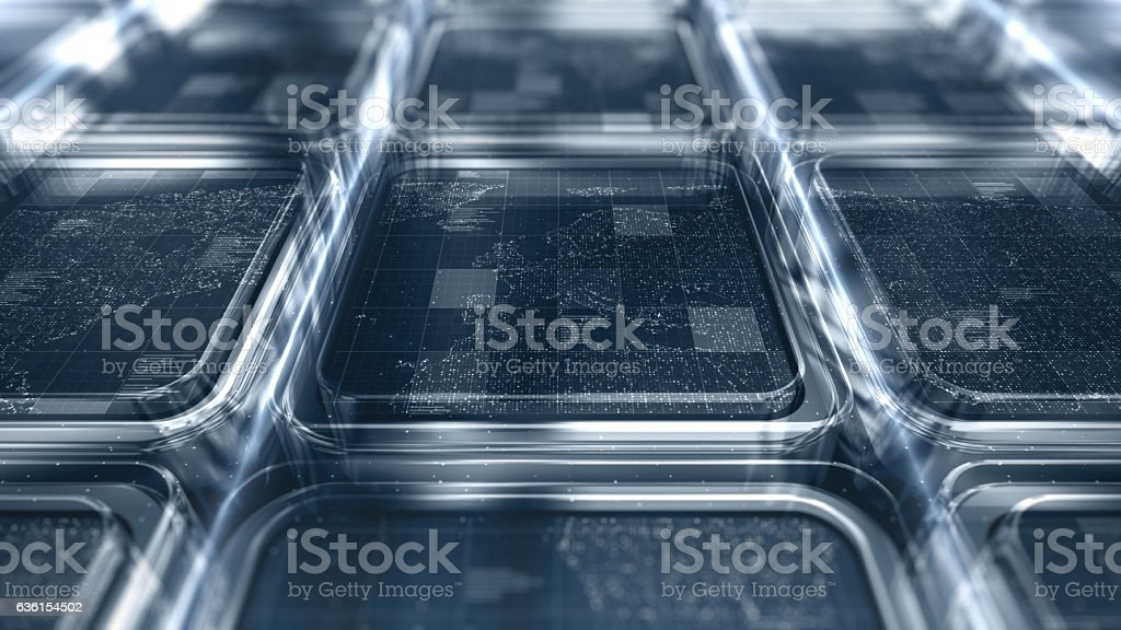Dotted world map over metal and glass blocks stock photo
