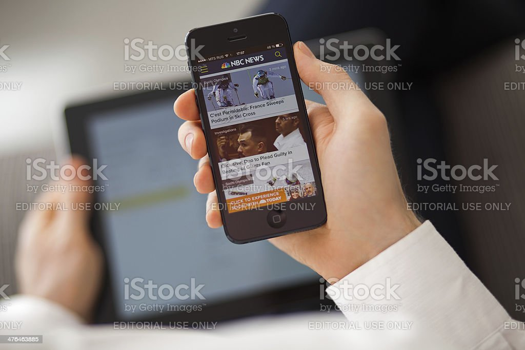 NBC News app on iPhone 5 stock photo