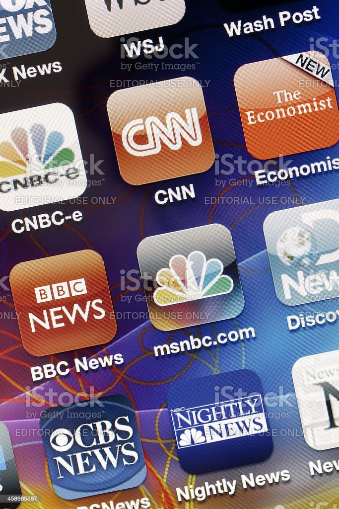 News Applications on Iphone 4 stock photo