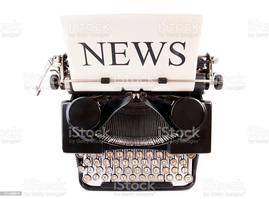 News Banner on Antique Typewriter royalty-free stock photo