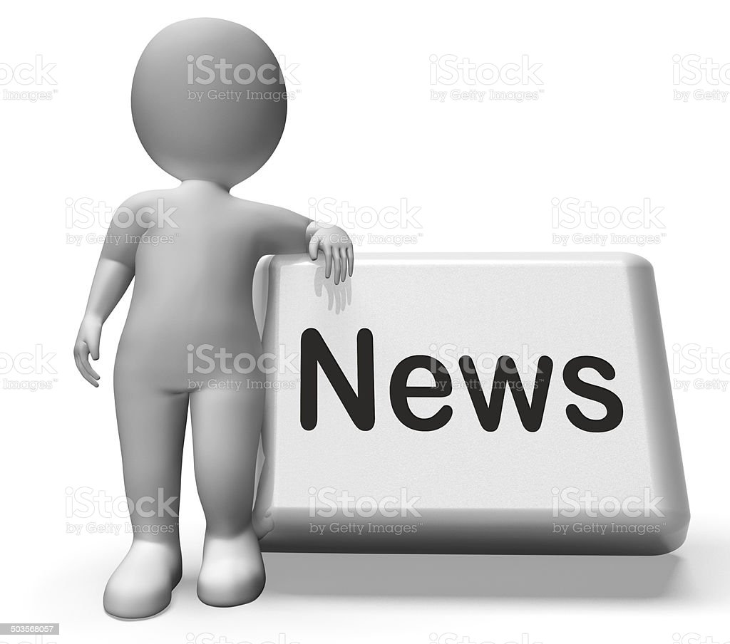 News Button With Character Shows Newsletter Broadcast Online stock photo
