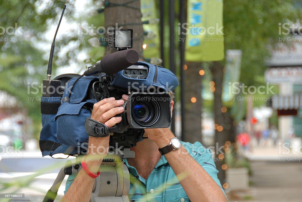 TV News Cameraman at Work royalty-free stock photo