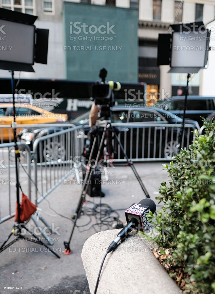 TV News Channel Equipment In New York City, USA stock photo
