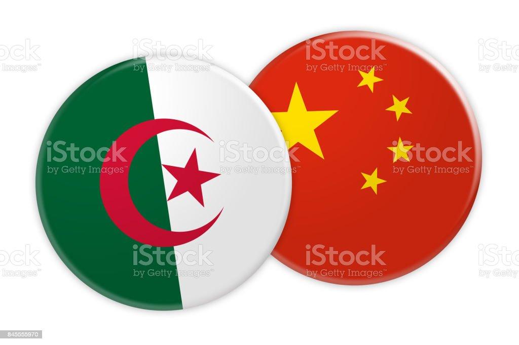 News Concept: Algeria Flag Button On China Flag Button, 3d illustration on white background stock photo