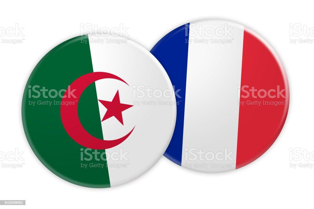 News Concept: Algeria Flag Button On France Flag Button, 3d illustration on white background stock photo