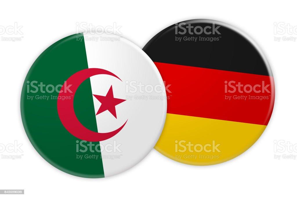 News Concept: Algeria Flag Button On Germany Flag Button, 3d illustration on white background stock photo