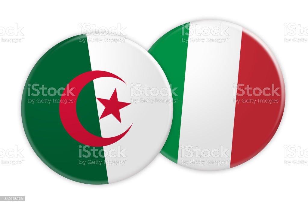 News Concept: Algeria Flag Button On Italy Flag Button, 3d illustration on white background stock photo